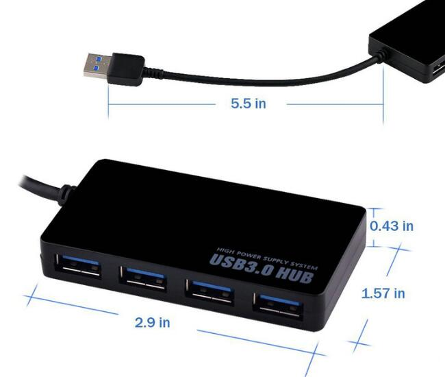 Ultra - Thin Four - Port USB 3.0 Desktop Hub voor 5G High - Speed ​​Splitter 5V